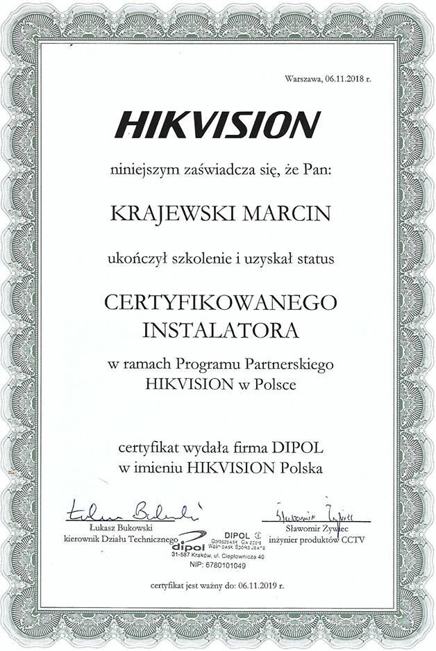 Certyfikat instalatora monitoringu